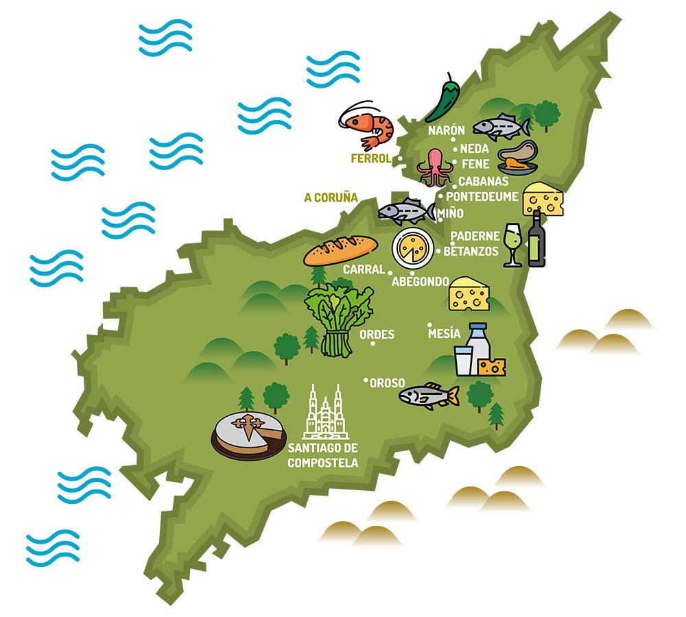 mapa gastronomia camino ingles
