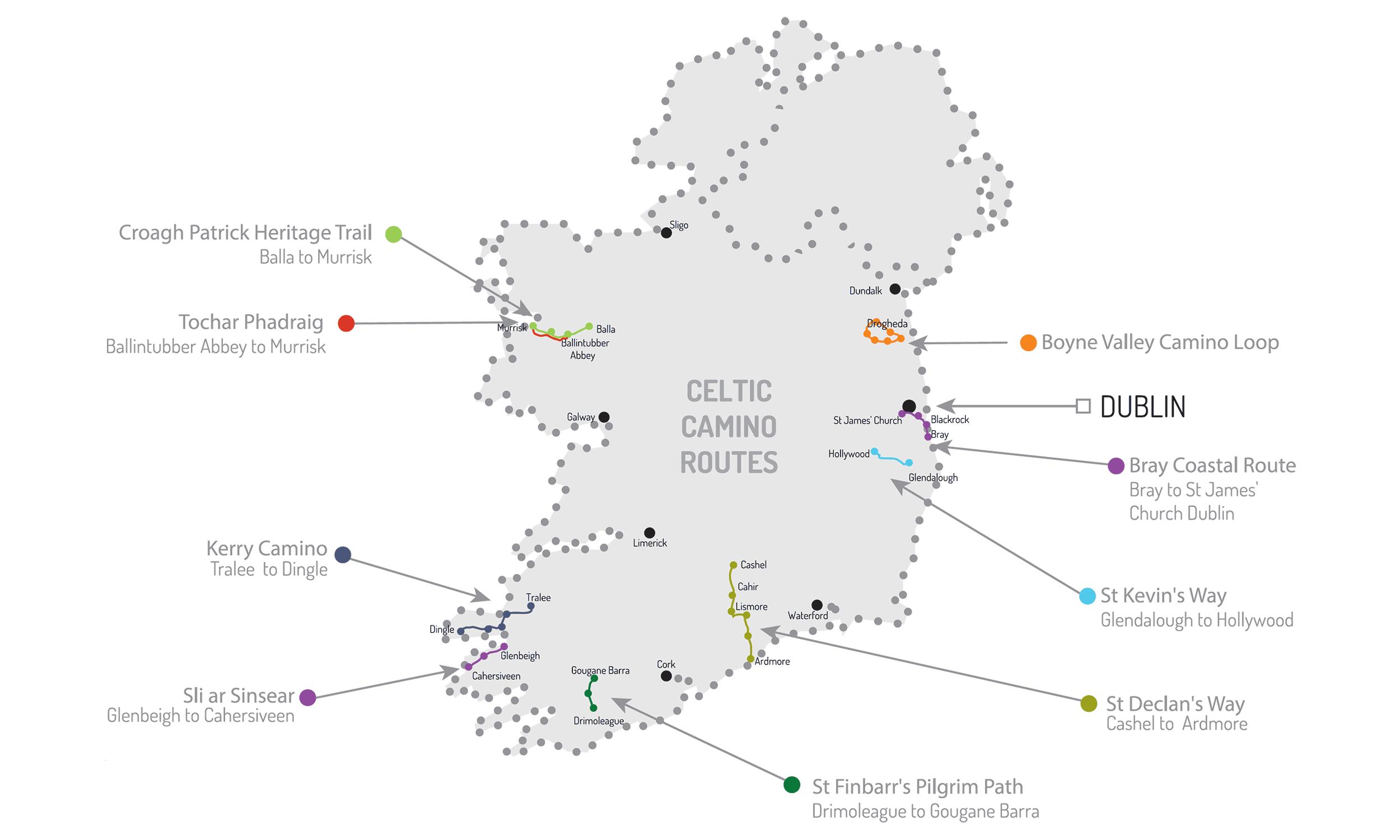 Mapa de todalas rutas en Irlanda
