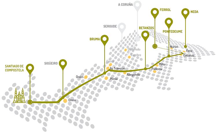Mapa de etapas de A Coruña a Santiago de Compostela