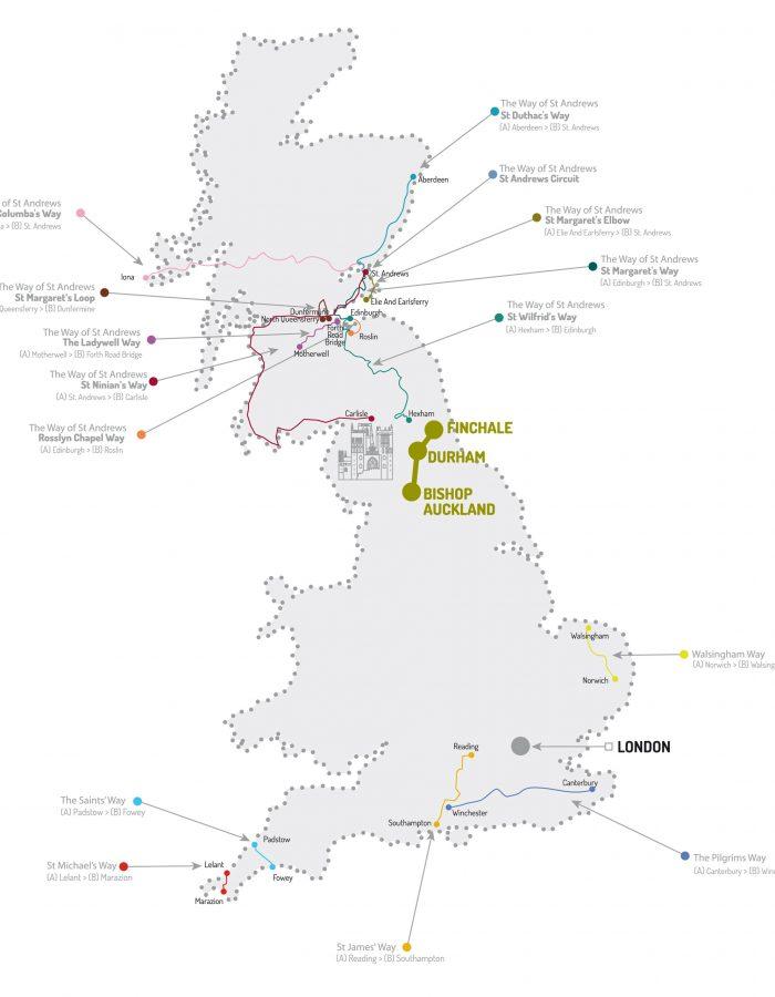 Mapa de todalas rutas no Reino Unido